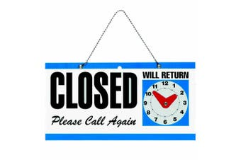 Headline Open/Close Business/Shop Door/Window 292 x 150mm Plaque Sign w/ Clock