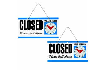 2x Headline Open/Close Business/Shop Door/Window 292 x 150mm Plaque Sign w/Clock