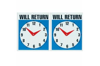 2x Headline 23cm Open Come In & Will Return Business Door/Window Shop Sign/Clock