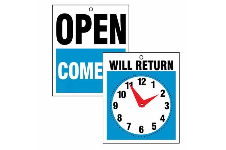 2x Headline 23cm Open Come In & Will Return Business Door/Window Shop Sign/Clock