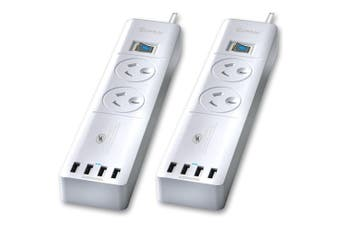 2pc Sansai Power Board 2 Way Outlets Socket 4 USB Charger Ports/Surge Protector