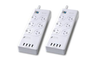 2pc Sansai Power Board 6 Way Outlets Socket 4 USB Charger Ports/Surge Protector