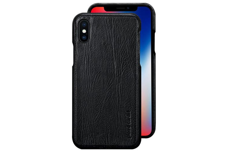 Pierre Cardin Genuine Leather Slim Case/Cover for Apple iPhone X/XS Black