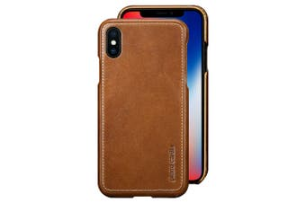 Pierre Cardin Genuine Leather Slim Case/Cover for Apple iPhone X/XS Brown