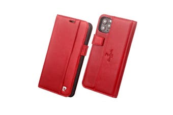 Pierre Cardin Gen. Leather Folio Wallet Case Card Holder for iPhone 11 Pro Red
