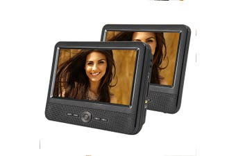 "Lenoxx 9"" Portable DVD Player Dual Screen Divx AVI CD USB JPG SD Home Car Travel"