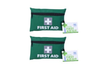 2x 92pc Travel/Home First Aid Kit Emergency Cuts/Minor Injuries Essential Kit