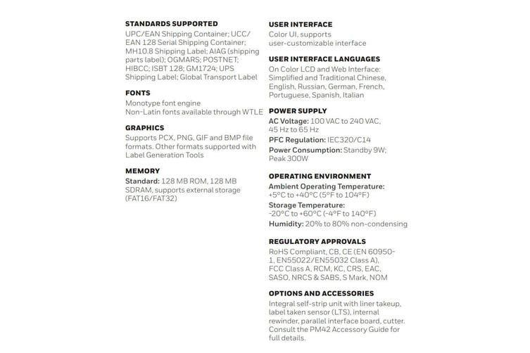 Honeywell TT Warehouse Industrial Packing Label Barcode Printer PM42 203 DPI BLK