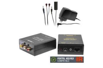 Composite RCA AV Video/Audio Cat5 Extender/IR emitter/Foxtel iQ2/iQ3 Compatible