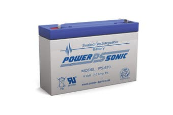 Power Sonic PS670 6V 7Amp SLA Rechargeable Battery F1 Terminal Sealed Lead Acid