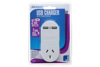Jackson 1 Amp Dual USB Charger Outlets with Power Socket for Indoor Home/Office