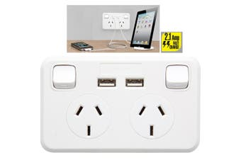 NZ/AU Australian Wallplate Dual Powerpoint 2.1Amp 2 USB Charger Charging Outlet