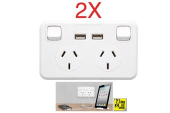 2PK Australian Wallplate Dual Powerpoint 2.1Amp 2 USB Charger Charging Outlet
