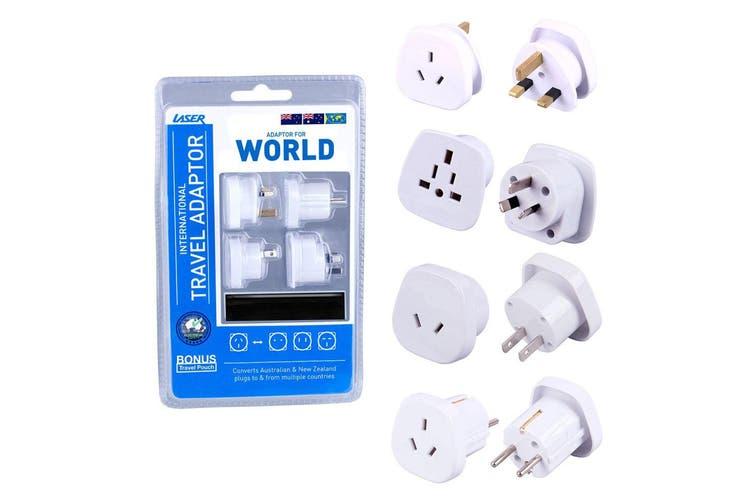 8pc Laser International AU/NZ to Asia/US/UK Travel Adapter Power Plug Pack WHT
