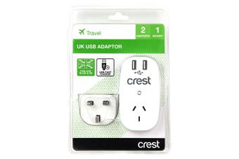 Crest Travel Electrical UK/HK/MY/SG 2 USB Fast Charge Port Adapter/AU Socket