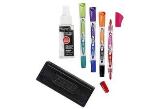 Quartet Eraser/ Liquid Cleaner & 4x 2in1 Markers Accessory Kit Set f/ Whiteboard