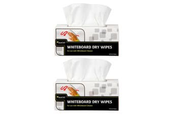 2x 180pc Quartet Dry Wipes Cleaning Wipe Eraser/Cleaner for Whiteboard White