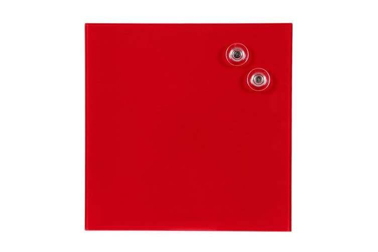 2x Quartet 300x300mm Magnetic Tempered Glass Wipe Off/Write Memo/Notes Board Red