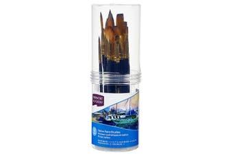 12pc Derwent Academy Synthetic Taklon Small Artist Round/Flat/Filbert Brush Asst