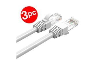 3PK Cruxtec 1m CAT6/RJ45 Network Lead Cable LAN Ethernet Internet Router Cord WH