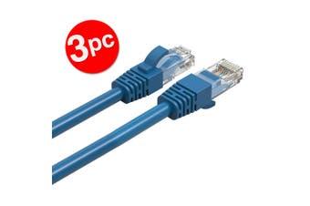 3PK Cruxtec 2m CAT6/RJ45 Network Lead Cable LAN Ethernet Internet Router Cord BL