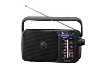 AM/FM Black Portable radio speaker/earphone plug jack/on Battery/Power AC/DC