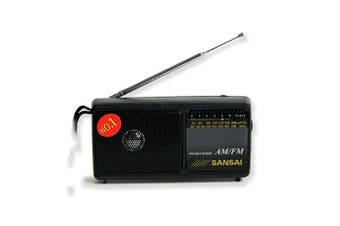 Sansai Black Portable AM/FM Radio w/ Built In Speaker/Wrist Strap/Earphone Plug