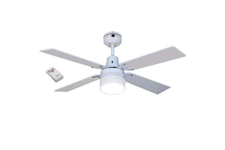 Heller Ruby 1200mm Ceiling Fan 4 White/Wood Cherrywood/Light/Remote/Air Cooling