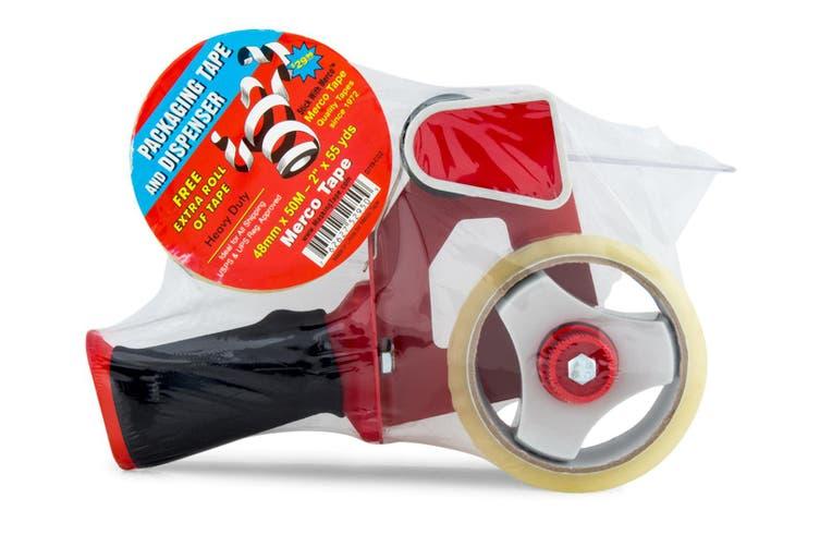 Merco Tape Packaging Handheld Dispenser/Holder  w/ Bonus 48mm Tape Roll Red