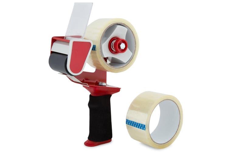 6x Merco Tape Packaging Handheld Dispenser/Holder  w/ Bonus 48mm Tape Roll Red
