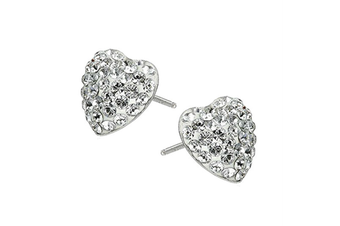 Women 12mm 925 Sterling Silver Pave Heart Stud Earrings w/Swarovski Crystals