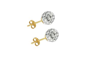Women 18K Gold Plated 5mm Stud Earrings Mini Bubbles w/Swarovski Crystal