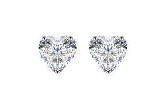 Women 18K White Gold Plated 10mm Heart Solitaire Earrings w/Swarovski Crystal