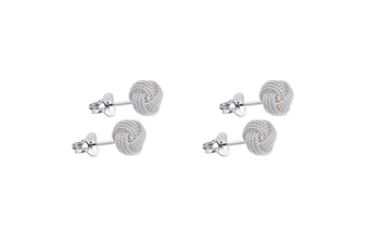 2PK Women 8mm Stud Earrings 925 Sterling Silver Lover's Knot Fine Jewellery