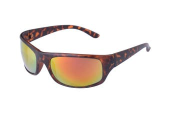 Shoreline Surf Wrap Around Sunglasses 100% UV Protection Brown Tortoise/Mirror
