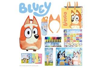 Kids Bingo & Bluey Showbag w/Backpack/Bottle/Memory Game/Marker/Placemat/Torch