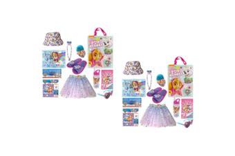 2PK Nickelodeon Kids Children Paw Patrol Skye Showbag Sticker/Skirt/Necklace