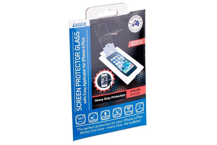 Laser Tempered Glass Screen Protector w/ Applicator for Apple iPhone 6+/7 Plus