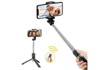 Sansai Portable Pocket Wireless Bluetooth Selfie Stick/Tripod w/ Remote Control