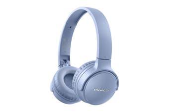 Pioneer S3 Wireless Bluetooth On Ear Foldable Headphone Headset w/ Mic Blue
