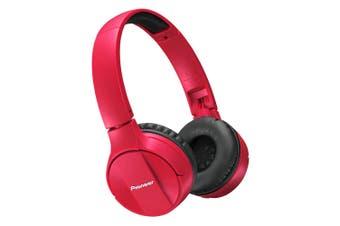 Pioneer SEMJ553BT Red Bluetooth On-ear Wireless Headphones/Mic for Smartphones