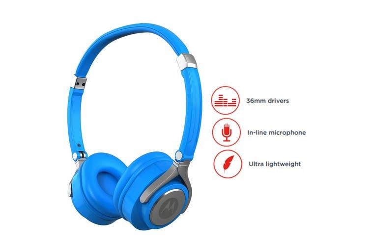 Motorola Pulse 2 On-Ear Headphone/Headset w/ Microphone for iPhone/Samsung Blue