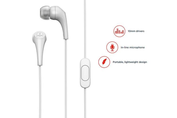 Motorola Earbuds 2 In-Ear Headphones/Headset w/ In-Line Microphone/Earbuds White