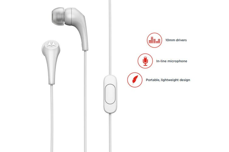 2x Motorola Earbuds 2 In-Ear Headphones/Headset w/ In-Line Microphone/Earbuds WH