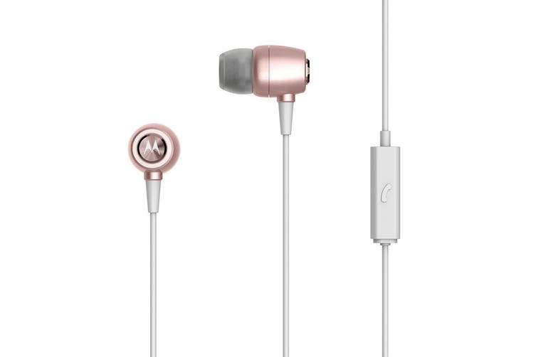 Motorola Earbuds Metal In-Ear Wired Headphones w/ Mic/Noise Isolation Rose Gold