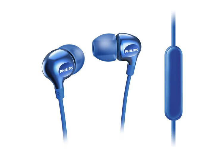 2x Philips SHE3555 BL In-Ear Earphones Headset/Mic f/ iPhone/Android/Smartphone