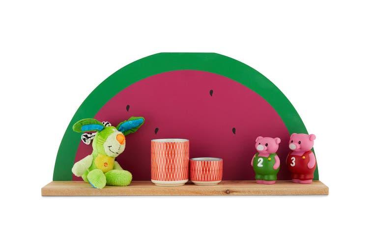 3x Kids Concepts Watermelon Home Decor Shelf Organiser Wall Wood Storage PK/GRN