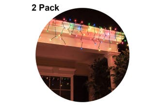 2x 4M Colour Decorative Christmas Solar Curtain Static/Flashing 100 LED Lights