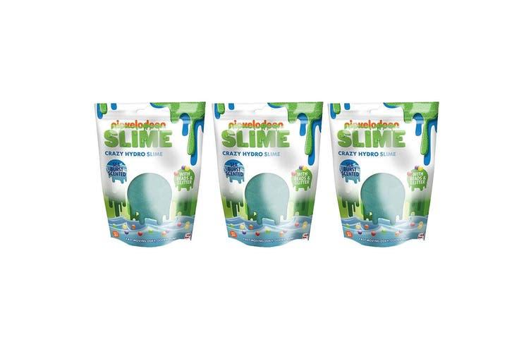 3x Nickelodeon Slime Crazy Hydro Slime w/ Beads/Glitter Toy f Kids 3y+ Sea Burst