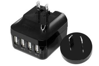 Doss 5V 6.8A 4 Way Usb Charger AU/US Power Plug for Smartphones/Tablets Black